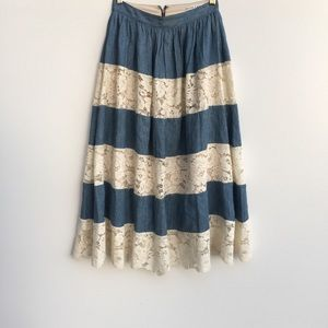 Alice + Olivia Romy Lace Panel Denim Midi Skirt 0